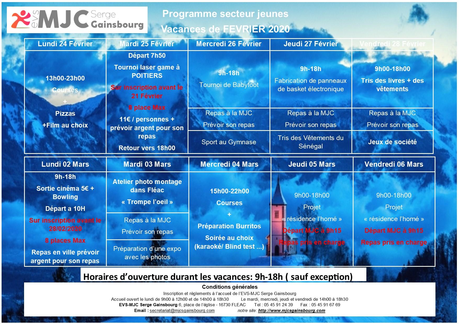 Programme vacance Février 2020